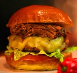 Burger n Pulled Pork in Brioche Bun